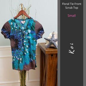 Koi | Floral Tie Front Scrub Top